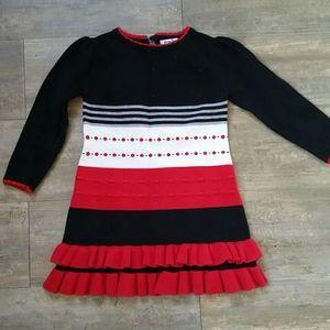 Hartstrings Red, White, & Black Sweater Dress - 3T